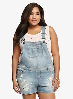 Torrid Premium Overall Shorts - Light Wash with Destruction, WASTED DAY