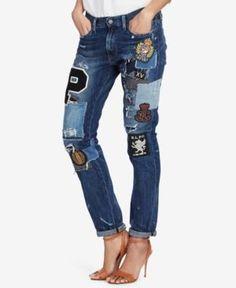 Polo Ralph Lauren Astor Slim-Fit Cotton Boyfriend Jeans - Medium Indigo 28  Patchwork Jeans 6484f955dac9