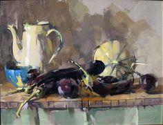 "Saatchi Art Artist Maggie Siner; Painting, ""George's Aubergines "" #art"