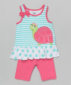 Look what I found on Green Turtle Tank & Shorts - Infant, Toddler & Girls by Nannette Girl Fashion Kids, Little Girl Fashion, Cute Little Girls Outfits, Kids Outfits, Green Turtle, Baby Doll Clothes, Infant Toddler, Toddler Girls, My Baby Girl