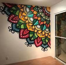 Mandala Wall - just what I want to do in my laundry room! me encanta! me encanta. Yes of curse Example of a mandala as an indoor mural. Colourful Mandalas on Wall No automatic alt text available. Home Decorators Collection Flooring would love this on my c Mandala Mural, Mandala Drawing, Mandala On Wall, Stone Mandala, Mandala Painting, Mandala Nature, Wall Art Designs, Paint Designs, Design Art