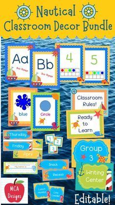 Check out my Nautical Classroom Décor Editable Bundle features all you need to have a fresh new look for your classroom this fall! Check out the preview for a quick look at this colorful theme. My Nautical Classroom Décor Editable Bundle features my ENTIRE Nautical collection including several editable features! #teacherspayteachers #tpt #classroommanagement #backtoschool Classroom Board, Classroom Rules, Classroom Organization, Classroom Management, Classroom Resources, Teaching Resources, Teaching Ideas, 1st Grade Activities, First Day Of School Activities