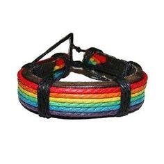 Gay Rainbow Sisters Gay Pride Leather Bracelet Wristlet