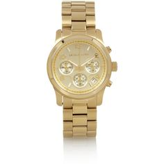 Michael Kors Gold-plated watch (430 CAD) ❤ liked on Polyvore featuring jewelry, watches, accessories, bracelets, michael kors, gold plated jewellery, michael kors jewelry, gold plated jewelry and michael kors watches