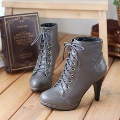 Vintage High Heels | Vintage Womens Lace Up High Heels Platform Ankle Boots Shoes 4 5 5 5 5 ...