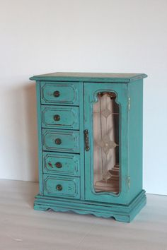Large Hand Painted Cyan Vintage Jewelry Box Music Box