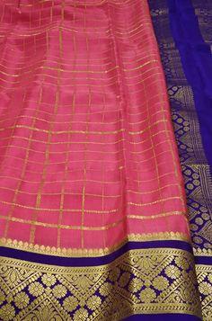 Pink  Handloom Mysore Crepe Silk Checks Saree  contact us on www.luxurionworld.com +91 22 22810169 +91 7738869115 OR +91 7710801701                                                            #pink #checks #mysore #crepe #silk #saree #fashion #traditionalsaree #designersarees #handloom #occasionwear #onlineshopping #luxurionworld