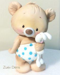 Мишка с зайкой из мастики #zuevdenis