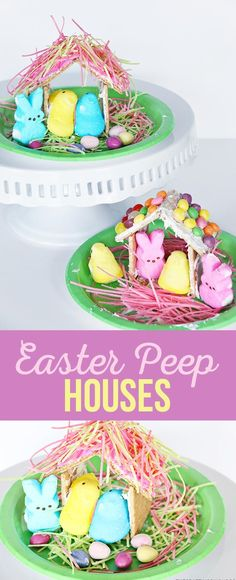 Kids will love making little houses for Peep Easter creatures. via @craftingchicks