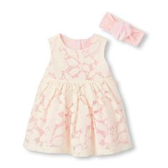 Baby Girls Sleeveless Flocked Floral Lace Flare Dress, Diaper And Headwrap Set