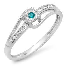 0.10 Carat (ctw) 10k White Gold Round White and Blue Diamond Wave Bridal Promise Engagement Ring 1/10 CT -- Tried it! Love it! Click the image. : Promise Rings Jewelry