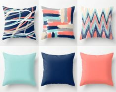Throw Pillow Covers, Coral Navy Aqua Beige Grey, Mix and Match, Abstract Art, Home Decor Decorative Pillows Decorative Pillows – 2019 - Pillow Diy Coral Living Rooms, Coral Bedroom, Living Room Colors, Living Room Grey, Coral Bedding, Floral Comforter, Navy Pillows, Green Throw Pillows, Accent Pillows