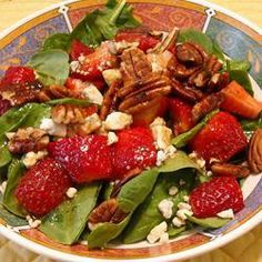 """Strawberry Blue Cheese Salad   """"This was so yummy! Very light and tasty. The taste of the blue cheese with the strawberries was awesome. Will definitely make again!"""" -JDVMD"""