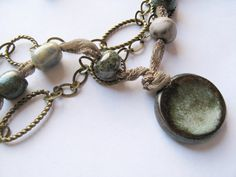 Ceramic, Silk and Chain Necklace with Earrings #steampunk