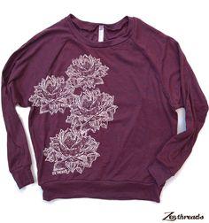 FLEURS de LOTUS Womens Tri-Blend Pullover  american par ZenThreads