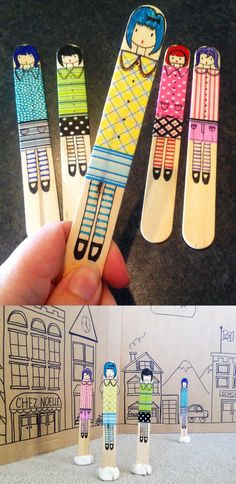Craft Stick Dolls. Great craft for kids. @Lauren Hanson those sticks I gave you are kind of small for this but I think you could be creative with this