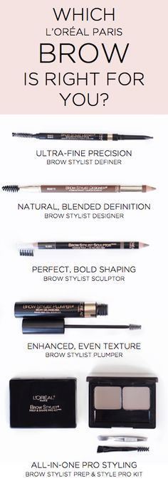 The L'Oreal Paris Brow Stylist collection — pencils, powders, gels and kits to get beautiful, full eyebrows.