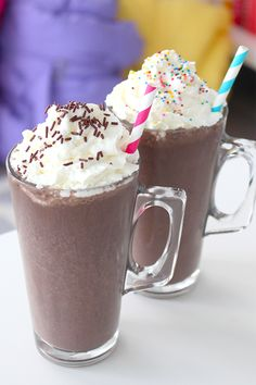 We've shared a few food recipes this week for a fun DIY activity at your next hosting but we just had to finish off the series with this yummy Frozen Hot Chocolate drink. After you've got all your hashtag cookies and puppy chow made, set out these tasty ingredients to finish off your ultimate sleepover party!