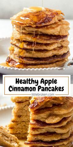 Apple Pancake Recipe, Healthy Pancake Recipe, Healthy Recipes, Healthy Snacks, Whole Wheat Pancakes, Fruit Pancakes, Waffles, Healthy Fruits, Healthy Eating