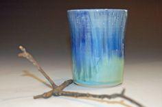 Pottery Tumbler in Waterfall Glaze Blue/Green by nhfinestoneware, $19.95