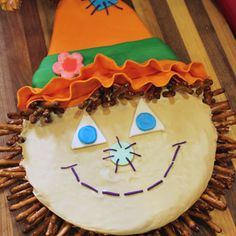 Pretzel Scarecrow Cake
