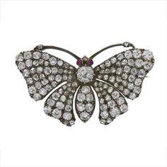 A Victorian diamond butterfly brooch, c. 1860