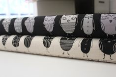 New kokka Japanese fabric, Owls in black and cream fat quarter bundle - 2 total. $7.00, via Etsy.