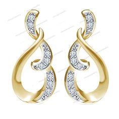 Round Cut Sim Diamond 10k Gold Plated Lovely Lady Women's Fancy Stud Earrings #Silvergemsjewelry #FancyStudEarrings