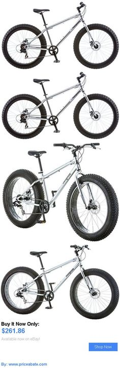 bicycles: Fat Tire Bike Mongoose Supersized Mens Malus 7 Speed Gearing Silver Bicycle New BUY IT NOW ONLY: $261.86 #priceabatebicycles OR #priceabate
