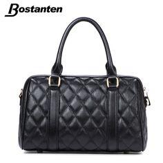 Bostanten Dress Women Famous Brand Designer Genuine Leather Handbag Ladies Pillow Shoulder Bag Plaid Zipper Female Crossbody Bag