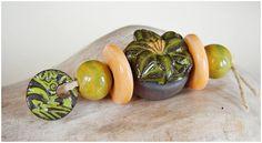 """Conjunto """" cerámica negra naranja-verde """" de MAJOYOAL por DaWanda.com"""