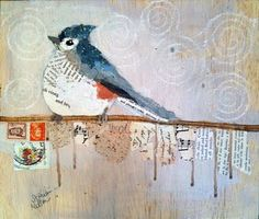 Paper Paintings - bird collage
