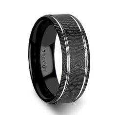 For him- Fingerprint Engraved Flat Black Tungsten Ring with Brushed Finish -6mm - 8mm