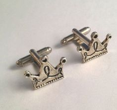 Men's New Pair of Hand Crafted Silver Royal King Crown Cufflinks / Cuff Links