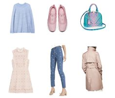 Beautiful blue and pink pastel essentials. Great for Spring. H&M sweater, Nike Airmax Thea sneakers, awesome Louis Vuitton Alma bag Cruise 2017, Uterque pearl jeans, Massimo Dutti trenchcoat, Sandro lace dress
