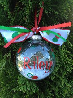 Vinyl Monogrammed Holiday Ornament by TheStylishLetter on Etsy, $12.00