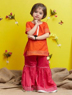Red Cotton Kurta with Pink Sharara - Set of 2 Kids Dress Wear, Girls Party Dress, Little Girl Dresses, Girls Dresses, Kids Wear, Baby Girl Dress Design, Fancy Dress Design, Dress Designs, Kurta Designs