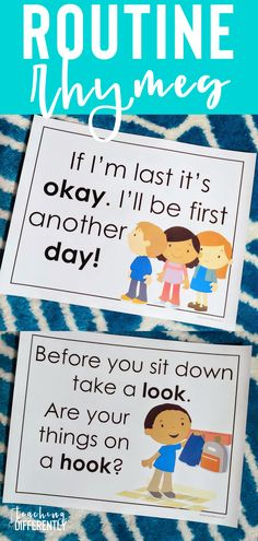 Routine Rhymes & Chants Use rhymes to make your back to school routines stick! These routine rhyme and chant posters are perfect for preschool, early elementary, and special education classrooms! Classroom Routines, School Routines, Classroom Behavior, Special Education Classroom, Education College, Kindergarten Classroom, Childhood Education, Early Education, Elementary Education