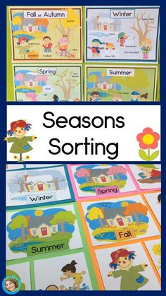 Seasons Sorting center with posters, seasons headers, pictures to sort and a worksheet My Teachers P Weather Activities Preschool, Preschool Board Games, Preschool Lesson Plans, Kindergarten Lessons, Preschool Curriculum, Science Classroom, Hands On Activities, Preschool Social Studies, Poster S