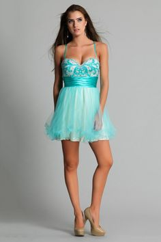 2014 Cute Prom Dresses Sweetheart Beaded Bodice A Line With Spaghetti Straps Tulle Ruffled