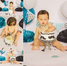 mustache theme first birthday party cake smash photos teal black and white photography boy twinberries bow tie banner diaper cover Abby Jayne Photography 1st Boy Birthday, First Birthday Parties, Mustache Theme, Cake Smash Photos, 1st Birthdays, Party Cakes, White Photography, Banner, Teal