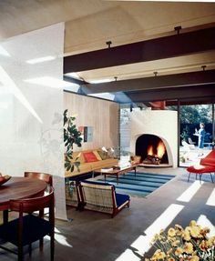 Buff, Straub & Hensman ~ Case Study House [B] (Saul Bass House) ~ Woonkamer ~ Altadena, Californië, VS ~ 1958 Architecture Magazines, Architecture Design, Midcentury Modern, Modernism Week, Mcm House, Mid Century House, Model Homes, Mid Century Design, Interiores Design