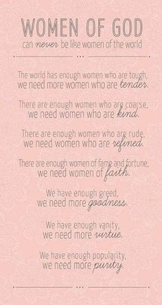 Women of God can never be like women of the world.