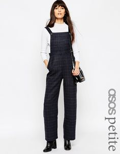 ASOS PETITE Exclusive Dungaree in Check