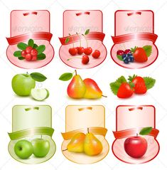 Buy Set of Labels with Berries and Fruit Vector by almoond on GraphicRiver. Set of labels with berries and fruit. Fully editable, vector objects separated and grouped, grad. Binder Labels, Printable Labels, Fruits Online, Raspberry, Strawberry, Fruit Vector, Canning Labels, Fruits Images, Jam Jar