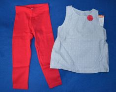 NWT Gymboree 3T Girl's Two Piece Summer Tank Top and Leggings Outfit Set