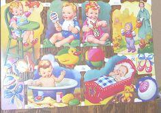 SHEET MLP ENGLAND MAMELOK CUTE CHILDREN BABY STORK SCRAPS DIE CUTS TRIMS 1290