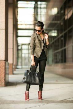 Olive Love :: Sharp blazer & Caged booties (via Bloglovin.com )