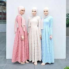 "523 Likes, 6 Comments - Hijabi Style (@hijabistyleofficial) on Instagram: ""Pretty pastel lace #HijabiStyle dresses from @hijab_house -  Gelato chic 🍦 #HijabFashion #hijab…"""