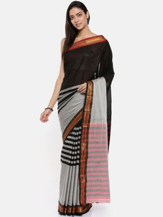 Buy The Chennai Silks Classicate Grey & Black Cotton Blend Striped Narayan Peth Saree - Sarees for Women from The Chennai Silks at Rs. Style ID: 6990099 Grey Saree, Cotton Saree, Chennai, Black Cotton, Sari, Skirts, Stuff To Buy, Women, Style